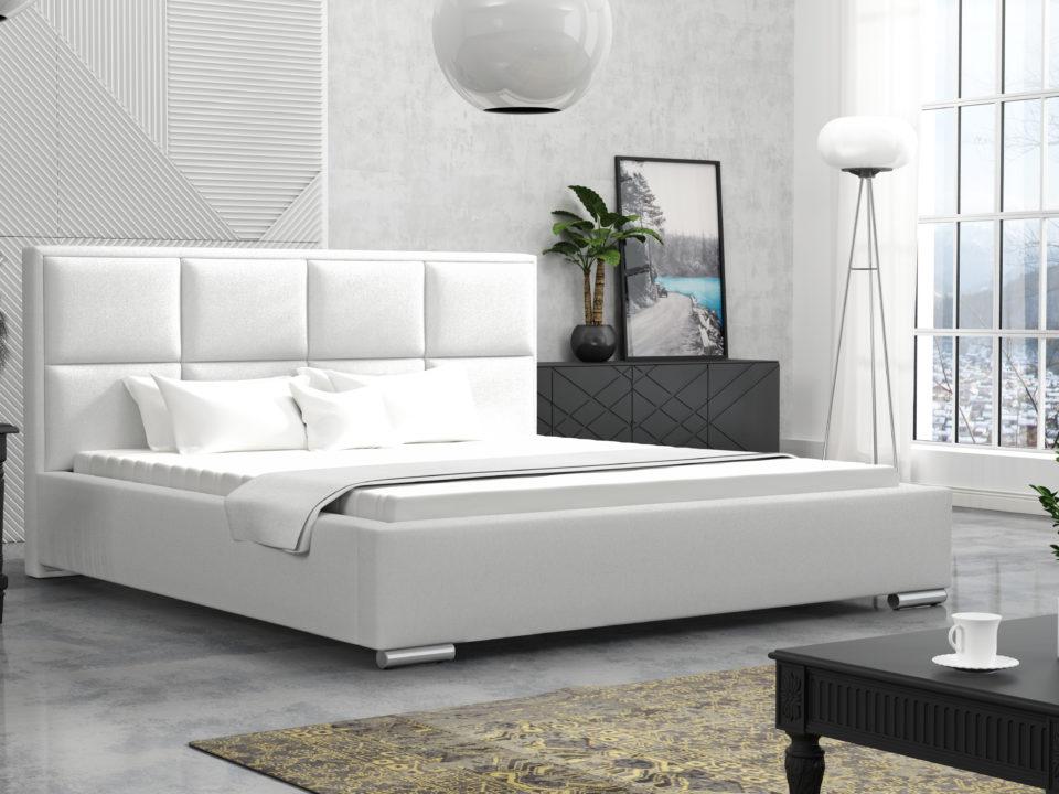 Łóżko tapicerowane LOFT Białe