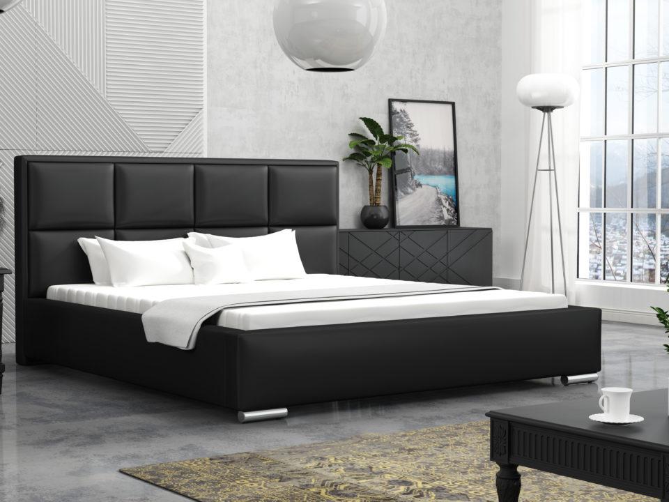 Łóżko tapicerowane LOFT Czarne